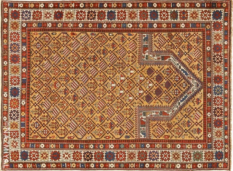 Antique Caucasian Dagestan Gold Prayer Design Rug | Nazmiyal