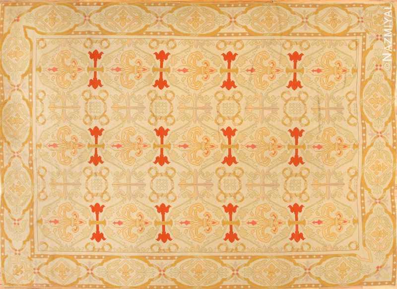 Fleur De Lis Design Antique Needlepoint English Rug Nazmiyal