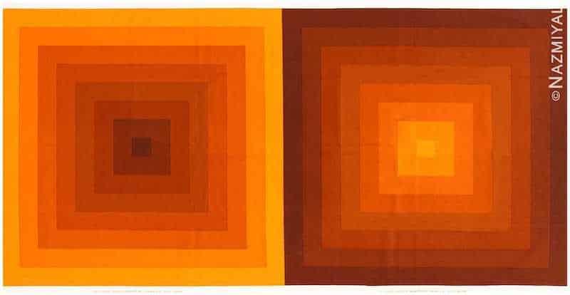 """Vintage Orange """"Quadrat"""" Verner Panton Textile Nazmiyal"""