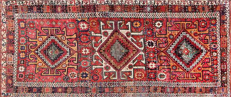 Colorful Eagle Kazak Design Antique Tribal Persian Kurdish Rug Nazmiyal