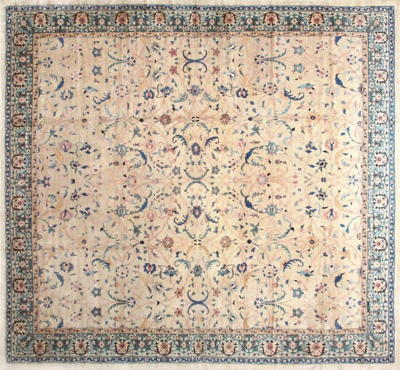 Large Square Antique Indian Agra Rug | Nazmiyal
