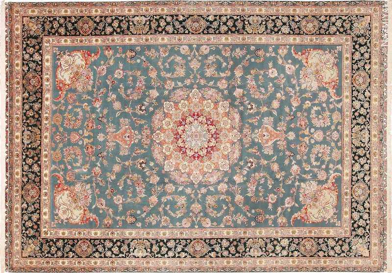 Large Fine Silk and Wool Vintage Persian Tabriz Rug Nazmiyal