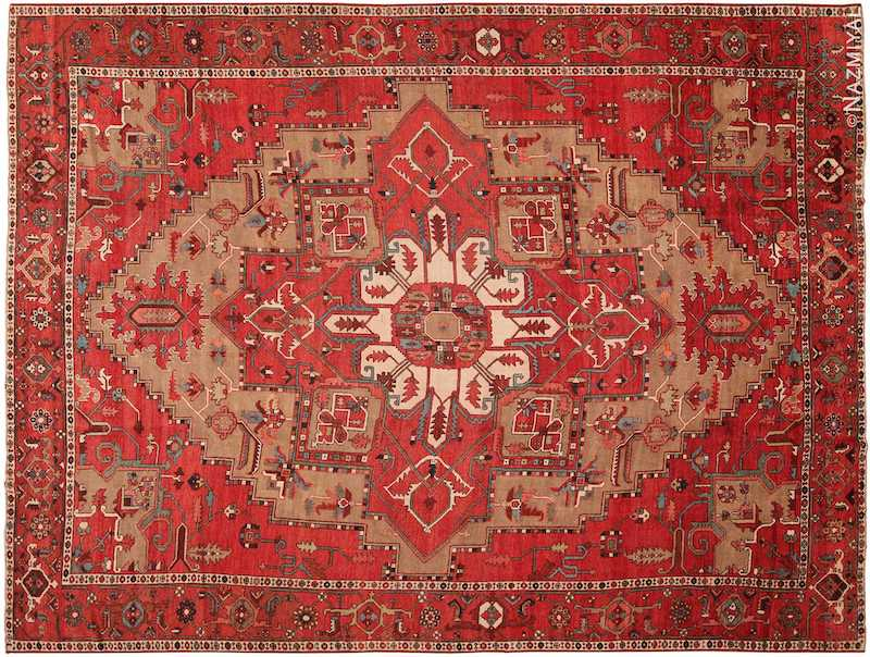 Large Geometric Antique Persian Serapi Rug Nazmiyal