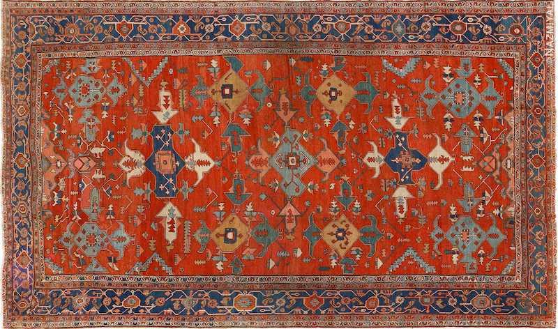 Large Red Antique Serapi Persian Rug Nazmiyal