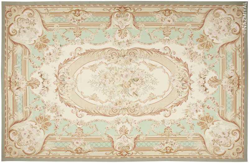 French Inspired Aubusson Modern Carpet Nazmiyal