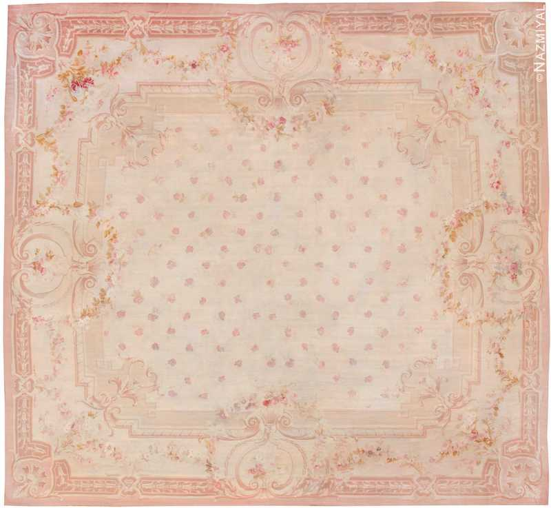Antique Square Size French Aubusson Carpet Nazmiyal