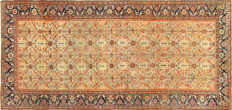 Yellow Color Background Antique Sultanabad Persian Rug Nazmiyal