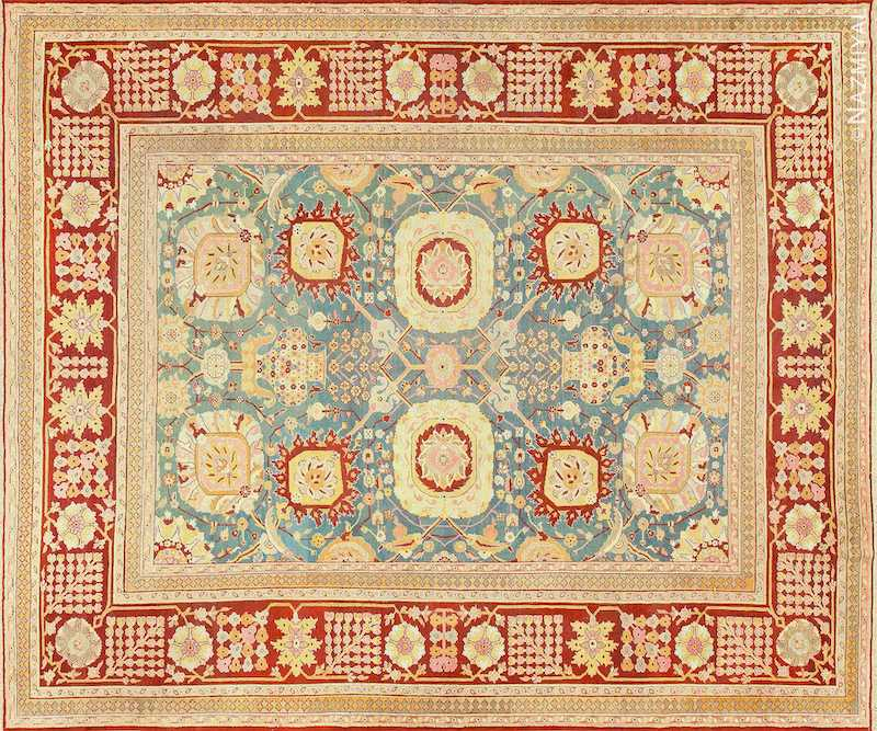 Light Blue Antique Indian Agra Carpet Nazmiyal