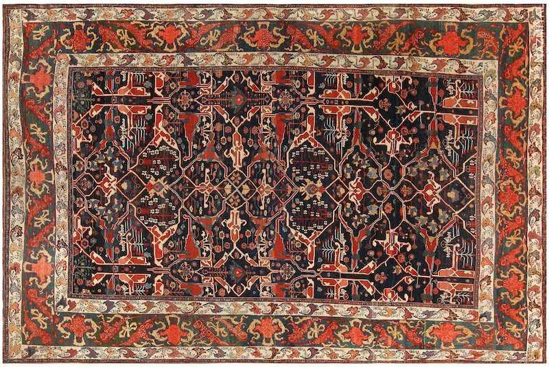 Large Blue Garous Design Antique Persian Bidjar Rug Nazmiyal