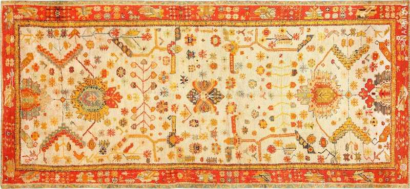 Antique Turkish Oushak Rug With Arts and Crafts Design Nazmiyal