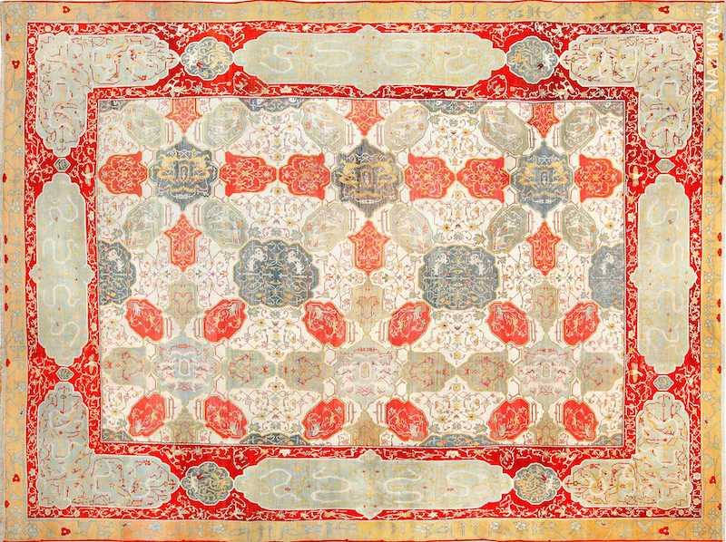 Antique Ivory Room Size Indian Agra Rug Nazmiyal