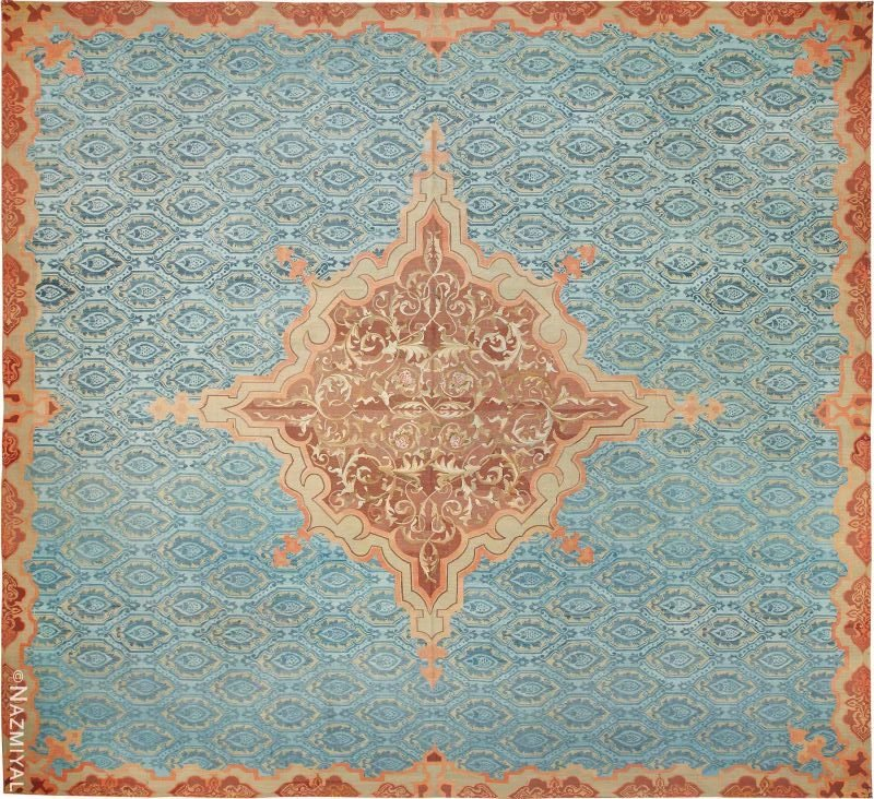 Antique Blue Mid 19th Century French Aubusson Carpet Nazmiyal