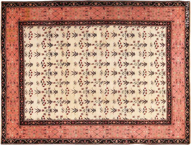 Ivory Room Size Antique Indian Agra Carpet Nazmiyal
