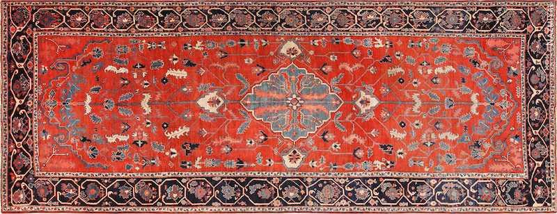 Rare Long And Narrow Antique Persian Heriz Rug