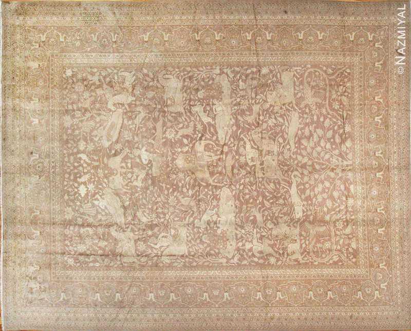 Large Shabby Chic Antique Amritsar Indian Hunting Rug Nazmiyal