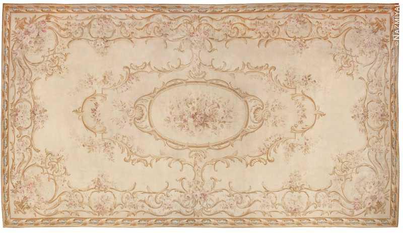 Large Oversized Ivory French Aubusson Antique Rug Nazmiyal