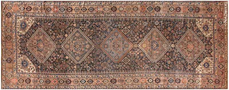 Antique Persian Qashqai Gallery Size Rug Nazmiyal