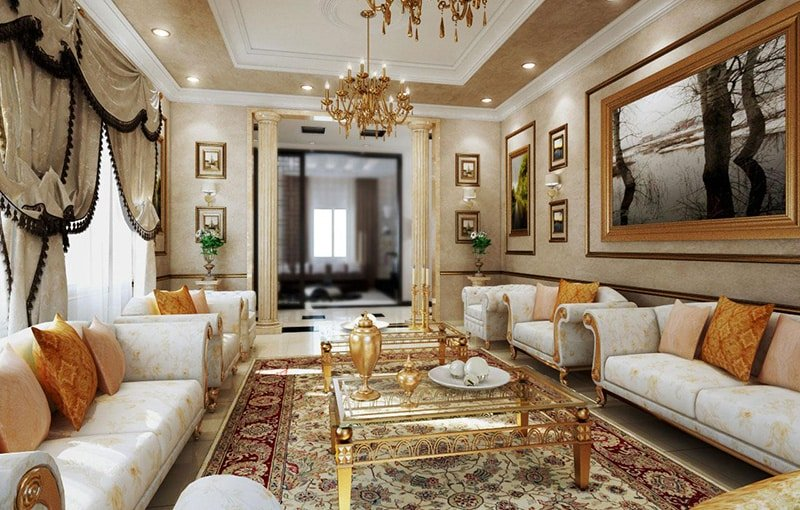 Rococo Style Interior Design With Persian Rug - Nazmiyal Antique Rugs in NYC