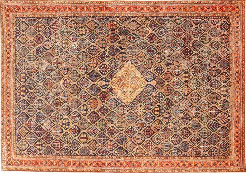 Large 18th Century Rare Antique Kurdish Shrub Design Rug Nazmiyal