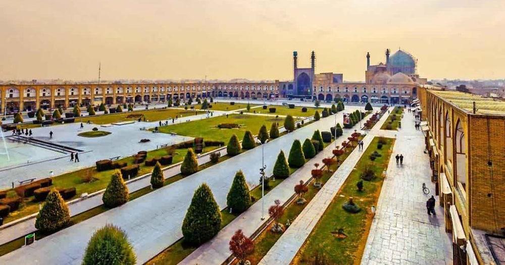 Charbagh Gardens At Naqshe Jahan Square In Isfahan Iran by Nazmiyal Antique Rugs