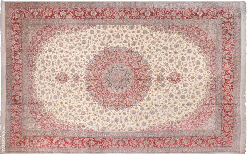Large Vintage Persian Silk Qum Rug Nazmiyal