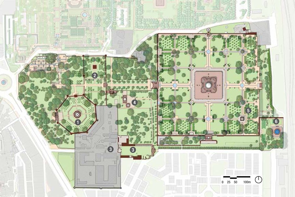 Char Bagh Garden Plan For Humayun's Tomb by Nazmiyal Antique Rugs