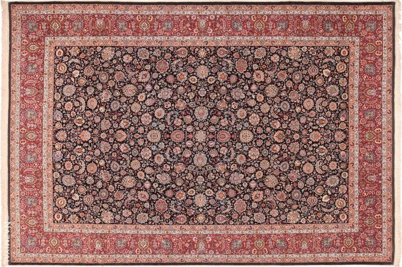 Fine Vintage Floral Silk and Wool Persian Khorassan Rug Nazmiyal
