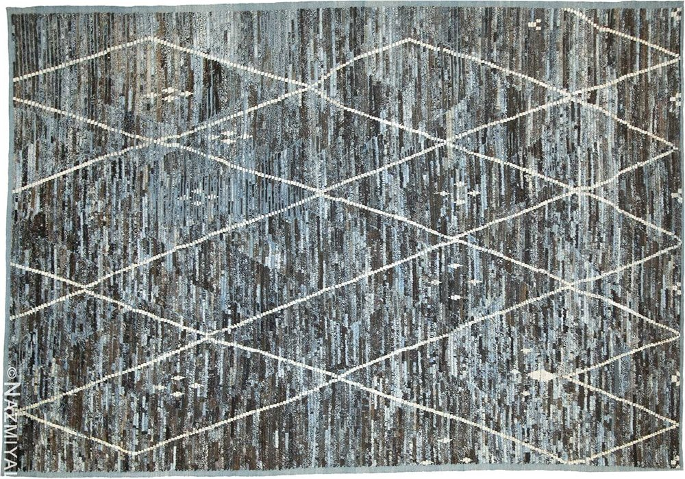 Brown and Blue Beni Ourain Inspired Modern Moroccan Style Area Rug by Nazmiyal Antique Rugs