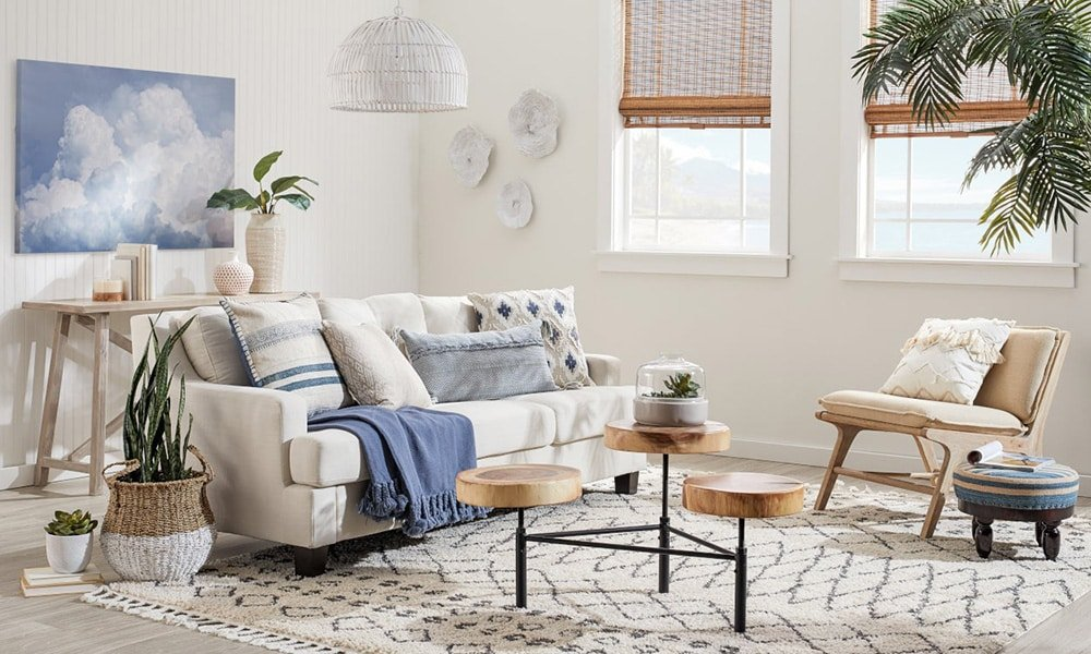 Coastal Beach Inspired Interior With Modern Moroccan Style Rug by Nazmiyal Antique Rugs