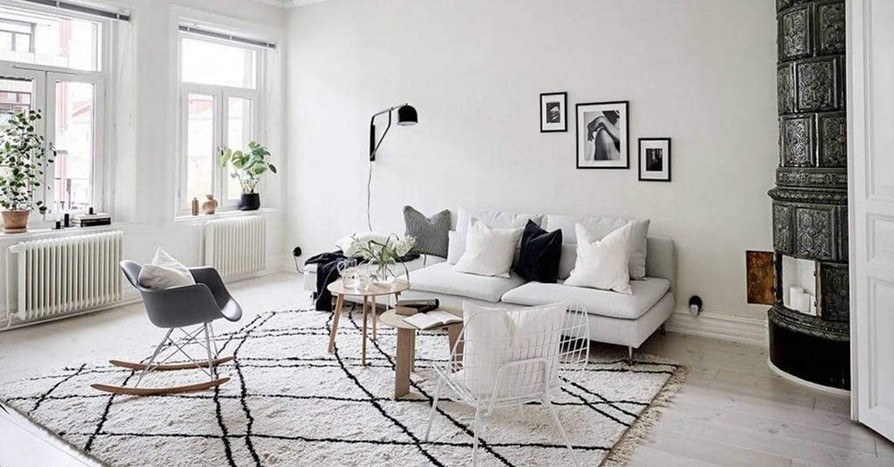 Ultra Modern Interior Decor With Modern Moroccan Style Rug by Nazmiyal Antique Rugs
