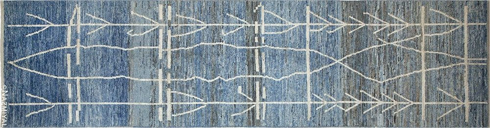 Berber Design Modern Blue Moroccan Style Runner Rug by Nazmiyal Antique Rugs