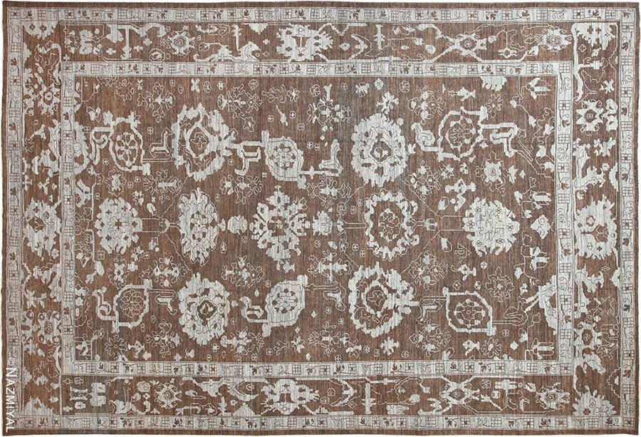Large Modern Floral Oushak Rug #60073 by Nazmiyal Antique Rugs