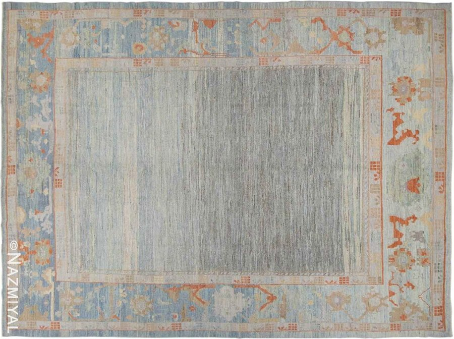 Light Blue Grey Open Field Modern Oushak Rug #418896815 by Nazmiyal Antique Rugs